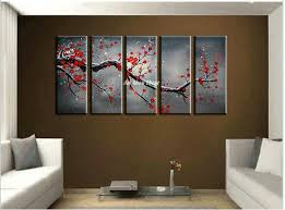 2017 canvas wall art cheap abstract wall decor red cherry blossom