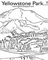 US National Park Landscape Clipart American Wildlife Art Drawing Yellowstone Coloring Pages Detailed