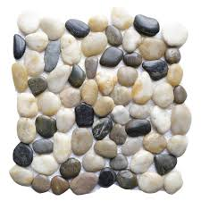 Mexican Shell Stone Tile by Pebble Tile Natural Stone Tile The Home Depot