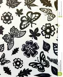 Download Butterflies Leaves And Flowers Pattern Paper Cutting Stock Image