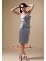 Modest Silver Mother Of The Bride Dress Column Sweetheart Taffeta Beading Knee Length