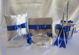 Royal Blue And Silver Wedding Flower Girl Basket Halo Ring Pillow