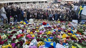 People Gathered On Sergels Square April 9 To Pay Their Respects And Leave Flowers For