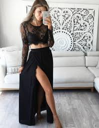 buy stunning two piece jewel long sleeves black prom dress with