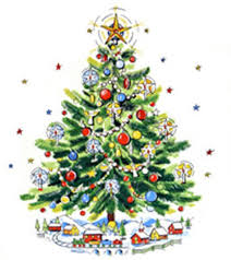 Christmas Tree With Train Mid Century Modern Digital Image
