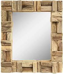 badezimmer spiegel spiegel holzrahmen mosaik holzstücke