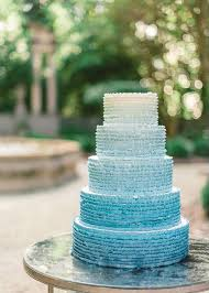 Scuba Blue Stunning Tiered Ombre Wedding Cake