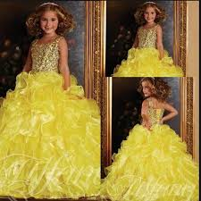 bling sequin bodice yellow kid ball gowns pageant dresses for