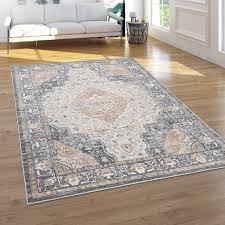 teppich wohnzimmer kurzflor vintage orientalisches muster 3d effekt grau beige