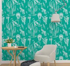 tapeten wohnzimmer kaktus und hut westliches muster