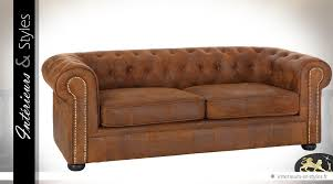 canapé microfibre vieilli canapé 3 places chesterfield microfibre finition cuir marron vieilli