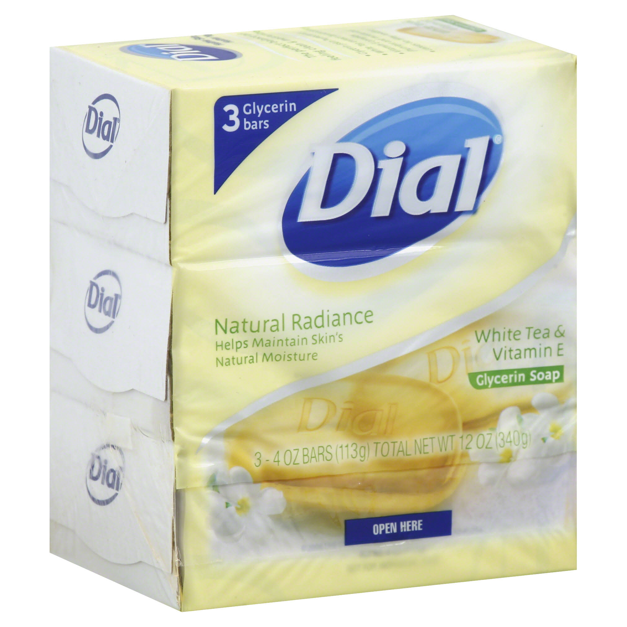 Dial Natural Radiance White Tea and Vitamin E Glycerin Soap - 4oz, 3 Count