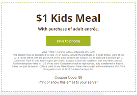 NEW COUPON $1 00 Olive Garden Kids Meals