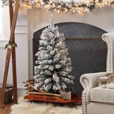 Slim Pre Lit Christmas Trees by 3 5 Ft Classic Flocked Slim Pre Lit Battery Operated Christmas
