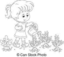 Girl watering carrots Little girl watering ve ables in a