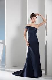 navy blue strapless taffeta court train plainness prom dress