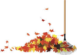 Pile of leaves And Rake vector art illustration
