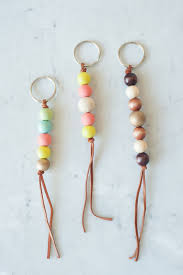 Christmas Tree Garland Wooden Beads by Pom Pom Keyring Keychain Made From Wooden Beads And Wool Pom Pom