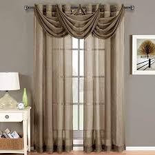 CRUSHED SHEER ABRI GROMMET Curtain Panels Window Treatment 50 X 84 Panel Mocha
