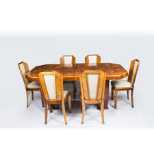 1930s Art Deco Burr Walnut Dining Table 6 Chairs