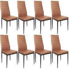 esszimmerstühle 8 stk hochlehner esszimmer kunstleder leder esszimmerstuhl polsterstuhl braun