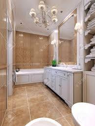 badezimmer deco stil klassische badezimmer mit weißen möbeln ein großer spiegel mit mosaik rahmen doppelleuchte über dem waschbecken 3d
