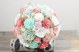 Wedding BouquetCoralDusty Mint Pink Bridal Bouquet Sola Flower