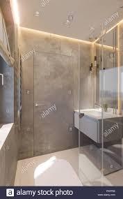 3d render interieur der badezimmer mit ebenerdiger dusche