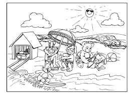 Unique Beach Coloring Page 1
