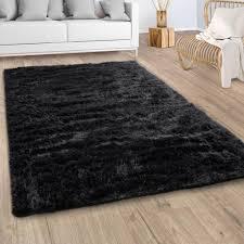 hochflor teppich wohnzimmer fellteppich kunstfell shaggy flauschig schwarz grösse 80x150 cm