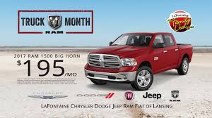 LaFontaine Chrysler Dodge Jeep Ram Fiat Of Lansing Ram Lease - YouTube 199 Per Month Lease 17 Ram Sheboygan Chrysler Youtube Elegant Dodge Trucks Boise 7th And Pattison New Ram Specials Lease Deals Winnipeg 2018 1500 For Sale Near Spring Tx Humble Or Metro Detroit All American Jeep Fiat Of San Angelo Tim Short Ohio Golling Presidents Day Sales Event Monthly Central Norwood