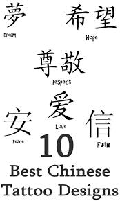 Chinese Tattoo Symbols And Designs