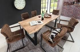esszimmerset tisch massiv akazie baumkante stühle lederoptik schwinger essgruppe