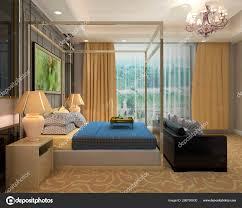 schlafzimmer oder hotelzimmer interieur 3d illustration