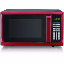 Red Stainless Steel Microwave Oven LED Display Kitchen Timer Touch Pad Control