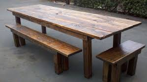 Elegant Great Rustic Wood Outdoor Furniture Dining Table Benches On Plans