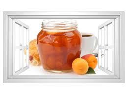 3d wandtattoo aprikose pfirsich marmelade kaffee küche frühstück fenster selbstklebend wandbild wand aufkleber 11m2114