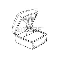 Vector doodle wedding ring with diamond icon hand drawn style