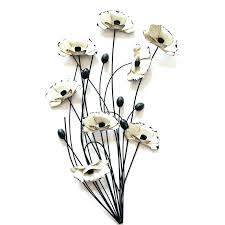 Metal Wall Art Flowers Q Contemporary Cream Poppy Spray Large Hobby Lobby Red