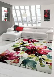 designer teppich moderner teppich wohnzimmer teppich blumenmotiv creme grün türkis rosa pink größe 160x230 cm