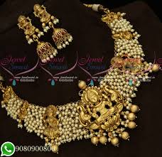 100 Pearl Design NL19347 Temple Premium Bridal Jewellery Beads Collections Wholesale Prices