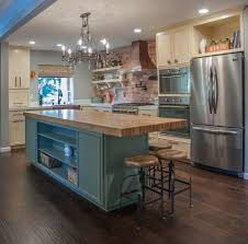 Butcher Block Island Kitchen Traditional With Blue Green Turquoise Cabinets Rustic
