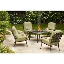 Hampton Bay Patio Furniture Cushion Covers by Hampton Bay Edington 5 Piece Patio Fire Pit Chat Set With Celery