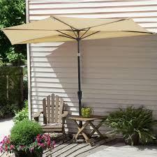 9 Ft Patio Umbrella With Crank by Amazon Com Yescom 9ft Beige Outdoor Patio Half Umbrella Cafe