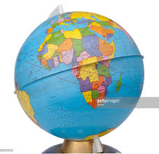 Old Rotating World Map Globe Stock Photo