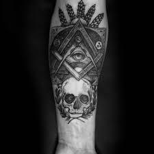 Skull All Seeing Eye Freemasonry Masonic Male Inner Forearm Tattoos