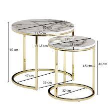 wohnling design beistelltisch 2er set weiß marmor optik rund couchtisch 2 teilig tischgestell metall gold kleine wohnzimmertische moderne