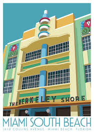 miami south deco miami travel poster of the berkeley shore hotel miami florida