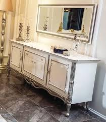 casa padrino luxus barock möbel set sideboard mit spiegel weiß silber massivholz schrank mit elegantem wandspiegel edel prunkvoll