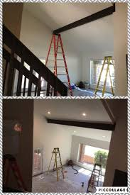 AZ Recessed Lighting Installation Of 4 New LED Lights With Solid Beams And Vaulted Ceilings